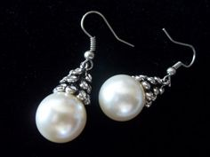 Pearl Earrings Pearl and Diamonds Earrings by SuzyQsVintageShop, $9.25