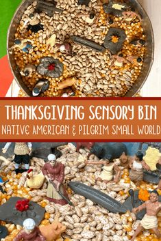 This Thanksgiving sensory bin has a base of unpopped popcorn and dried beans to with a Native American and Pilgrim small world for kids to play with. #thanksgivingsensorybin #kidsactivities #sensoryplay #preschoolactivities #parenting #teachers #sensoryprocessing #sensorybin