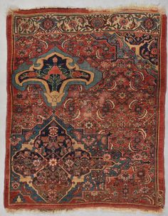 Antique Bidjar Sampler Persian area Rug Carpet