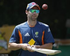 In the nets: Phillip Hughes waiting to take his turn to bat in the nets at a practice sess...
