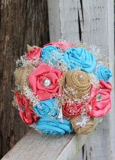 Turquoise and Coral Satin, Burlap and Lace Bridal Bouquet, babies breath, Fabric bouquet, Rustic, Country, Wedding flowers, Satin Bouquet by GypsyFarmGirl on Etsy