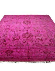 #9x12 #hotpink #pink #overdyed #rug #diningroom #livingroom #luxury #oneofakind