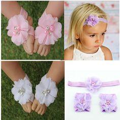 New Arrival Girls Foot Flower Girl Cute Foot Flower Barefoot Sandals Set Elastic Hairbands Kids Headbands photography  MT-83 #Affiliate