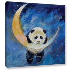 Michael Creese's Panda Stars, Gallery Wrapped Canvas is a high-quality canvas print depicting an adorable panda dangling from the moon in the artist's signature vibrant, oil impasto style.