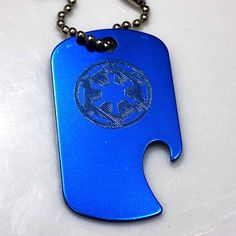 "Storm Trooper Star Wars Blue Key Chain 4"" Chain Dog Tag Bottle Opener EDG-0144"