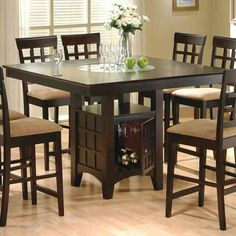 Counter high dining table with storage