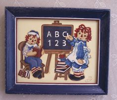 Primitive Hand Painted Raggedy Ann and Andy by NottinghamCottage, $29.95