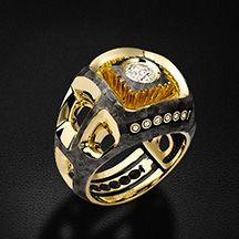 Мужское кольцо с бриллиантами из желтого золота 585 пробы (арт. 25587)