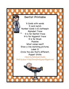 Dentist Printable  16 page for $1.20