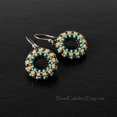 turquoise beadwoven donut earrings by BeadCatcher on Etsy