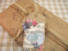 Pretty packaging ... stamping brown paper and art tag