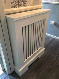 Is your home or apartment heated by old-school radiators? They're a good heating option, especially if they're heat-conducting cast iron. But these radiator units take up considerable wall space and, in many cases, they're unsightly. White Radiator Covers, Modern Radiator Cover, Contemporary Radiators, Traditional Radiators, Old Radiators, Cast Iron Radiators, Wall Heater Cover, Wall Spaces, Cover Design