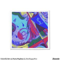 Shop Colorful Art on Party Napkins created by BeeHappyNow. Party Napkins, Dinner Napkins, Dining Decor, Colorful, Artwork, Work Of Art, Napkins
