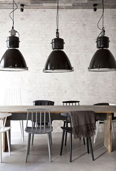 I'd love to have one of those original vintage factory lamps for above my kitchen table.
