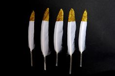 Gold Silver Glitter Tipped White Goose by TheArtofRegressing