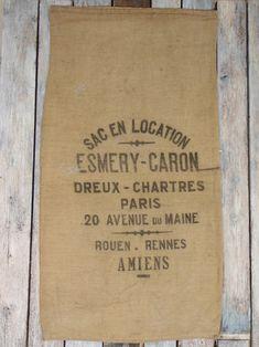 BURLAP Grain SACK Flour bag PARIS French  Vintage Pillow Cover and Upholstery Jute hessian