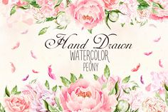 Hand Drawn watercolor Peony by knopazyzy on @creativemarket
