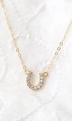 Tiny Horse Shoe Necklace Cubic Zirconia Necklace