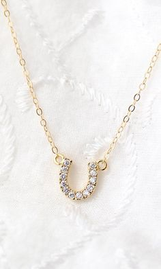 Tiny Horse Shoe Necklace Cubic Zirconia Necklace