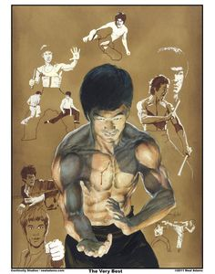 Still one of my favorite martial arts actors and everyone loves this piece. Interesting side-note: each one of the background figures is from a different Bruce Lee movie. Bruce Lee Art, Bruce Lee Photos, Brice Lee, Neal Art, Jeet Kune Do, Hand To Hand Combat, Enter The Dragon, Little Dragon, Martial Artist