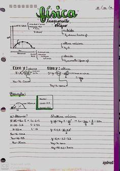 Resumo de física- lançamento oblíquo Planning School, Lettering Tutorial, Study Notes, Studying, Physics, Vest, English, Stickers, Anime