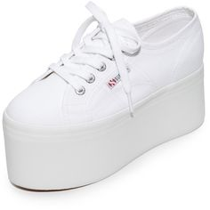Superga 2802 Canvas Super Platform Sneakers found on Polyvore featuring polyvore, women's fashion, shoes, sneakers, white, white platform sneakers, canvas shoes, platform shoes, canvas sneakers and platform canvas sneakers