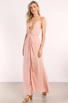 Get showered in compliments all night in the Eyes on You Knotted Maxi Dress. Featuring a sophisticated, plunging neckline and center tiny knot embelli #shoptobi