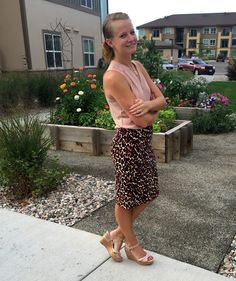 Sweet Bananie [9.2.15] blush blouse, leopard print pencil skirt, nude wedges + simple gold jewelry