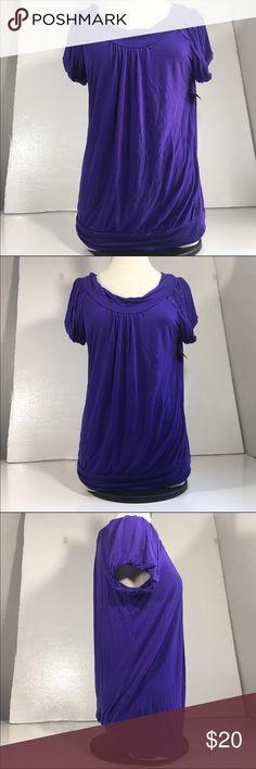 "BCBG MAX AZRIA WOMENS SZ L LARGE Purple BCBG MAX AZRIA WOMENS SZ L LARGE Purple Short SLEEVE SHIRT TOP  22"" arm pit to arm pit 28"" length BCBGMaxAzria Tops Tees - Short Sleeve"