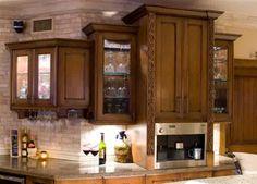 Beverage bar in Mediterranean styled kitchen. Features alder cabinetry and quartz countertops. Bar Drinks, Beverage Bars, Coffee Center, Quartz Countertops, Kitchen Cabinets, Entertaining, Canning, Centre, Kitchens
