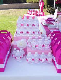 Roses and ruffles party: Holland Rose is First Birthday Parties, First Birthdays, Kids Party Themes, Party Ideas, Bottle Display, Troll Party, Party Buffet, Candy Table, Party Cups