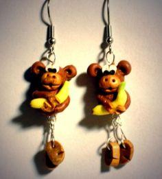 Ohrringe Affe Tier Banane Damen Hänger Durchzieher Ohrschmuck Modeschmuck Fimo