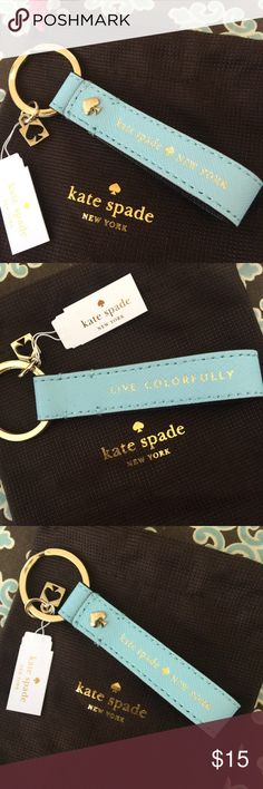 NEW! KATE SPADE leather lanyard key chain This is for a brand new KATE SPADE leather lanyard light blue keychain. Comes with pouch! Will ship immediately! kate spade Other