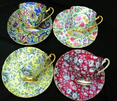 SET OF 4 Shelley art deco chintz ripon Tea cup and saucer tapestry rose blue paisley countryside