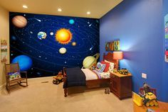 childrens space and planets mural