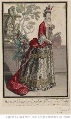 """""""Marie Thérèse de Bourbon, princesse de Conti, en pied"""", Bonnart, ca. 1695; Bibliotheque Nationale"""