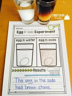 Dental health month: egg in soda experiment! Perfect for teaching little ones about hygiene and dental health!