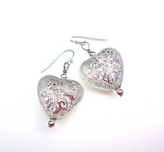 Shimmery silver and frosted white heart by ...   Awesome Accessories