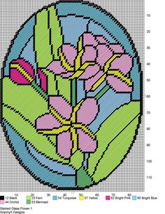 STAINED GLASS FLOWER 1 by GrannyS Designs -- WALL HANGING
