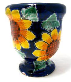 Talavera Pottery Flower Pot Hand Painted Planter Sun Flower | eBay