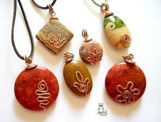 polymer clay and copper pendants Cute little wire wraps that add a special touch to a pendant.
