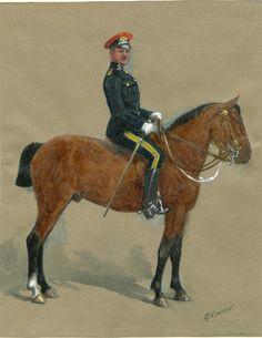 16th Queen's Lancers Officer Undress Uniform 1908 by Richard Simkin