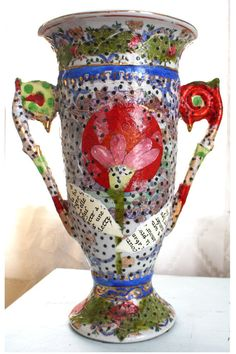 paper mache vase       Could paper mâché existing objects like jars.  H