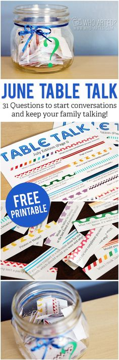 Table Talk (July Edition): Conversation starters for your family! I love this idea. Free, printable questions to ask at the dinner table.