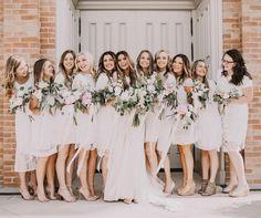 All white, short dress or midi dress bridesmaids