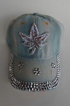 13ec5a6d68918 Details about Pot Leaf Women s Men s Rhinestone Crystal Baseball Cap Bling  Adjustable Hats