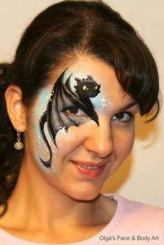 Dragon toothless face painting design idea by Olga Meleca Join Olga for her Australian Tour 2015   the Face Painting School #facepaint #facepainting