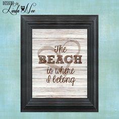 PRINTED Wall Decor ~ The Beach is Where I Belong ~Summer Print ~ Beach Print ~ Summer ~ Beach Lover ~ Flip Flops ~ Seaside ~ Beach Girl ~