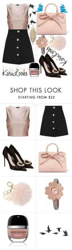 """""""GolD AnD BlacK"""" by karilooks ❤ liked on Polyvore featuring Miss Selfridge, Miu Miu, Mansur Gavriel, MICHAEL Michael Kors, Michael Kors, Marc Jacobs, Jayson Home and L.A. Girl"""