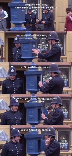 Higgins and Crabtree on technology. Murdoch Mysteries.